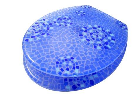 Blue Mosaic Pattern Toilet Seat